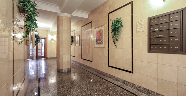 entrance and lobby of vintage apartments for rent in Lincoln Park at 2335-45 N Geneva, Chicago, IL
