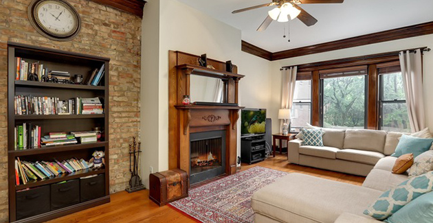 fireplace in living room of vintage apartment in Lakeview Chicago