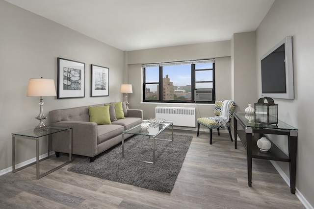 living room with white sofa and grey hardwood floors in Hyde Park apartment for rent