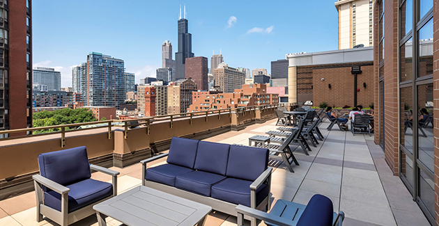 roof terrace with view of Chicago skyline from Astoria Tower South Loop apartments