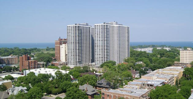 view of high-rise apartment buildings and Lake Michigan in the background, seen from apartment for rent in Buena Shores Apartments, Chicago