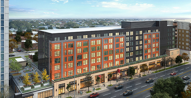 rendering of new Rogers Park apartment building The Concord at Sheridan in Chicago