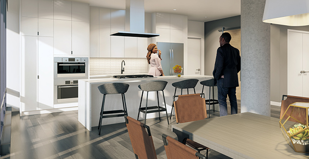rendering of kitchen and dining area in apartment for rent at Four50 Belmont