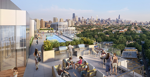 rooftop pool and amenity lounge at Lincoln Common apartments for rent in Lincoln Park