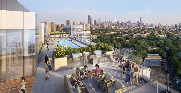 roofotp view of Chicago city skyline from Lincoln Park apartments for rent at Lincoln Common
