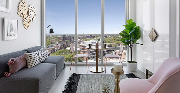 view from the kitchen of a luxury apartment for rent in Lincoln Park, Chicago