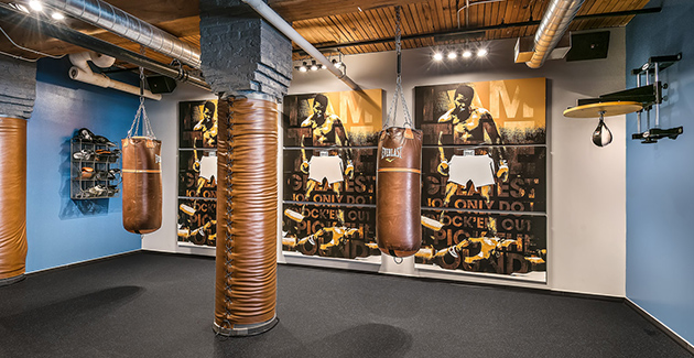 boxing area in Lofts at River East fitness center
