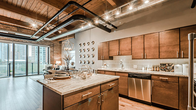 timber ceilings and exposed ducts in loft apartment for rent in The Lofts at River East in Chicago