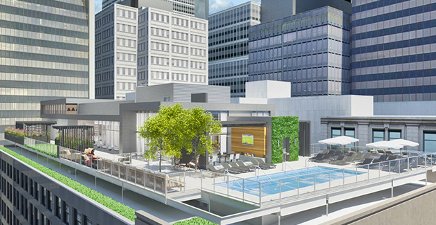 the rooftop pool and communal area of Loop apartment building Millennium on LaSalle