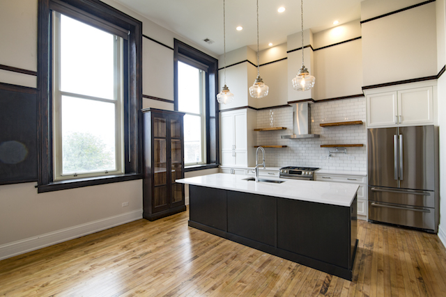 kitchen of custom designed loft apartment for rent in West Loop Chicago
