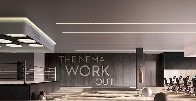 fitness center with boxing ring at NEMA Chicago apartments in the South Loop
