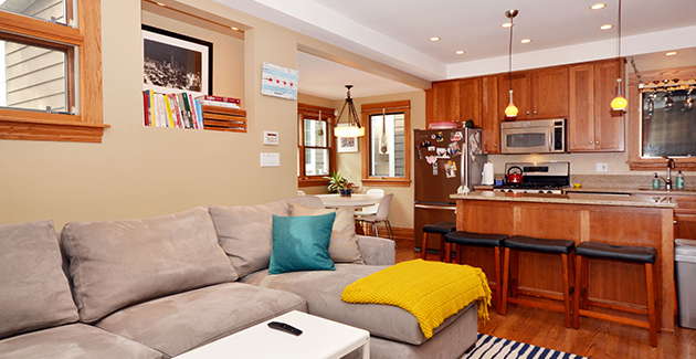 living room of coach house for rent in Roscoe Village neighborhood of Chicago