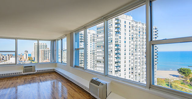 view of Lake Michigan from corner apartment in Edgewater, Chicago
