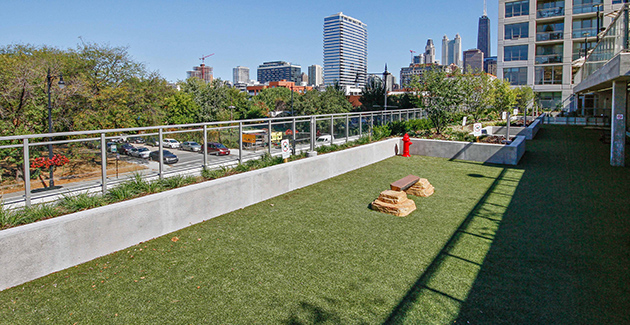 dog run located on second story outdoor deck in River North apartment building The Hudson