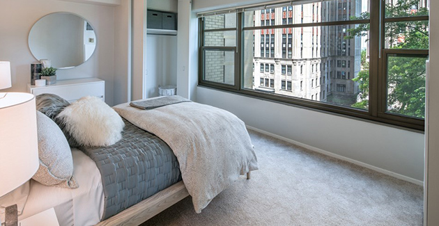 bedroom view from Hyde Park apartment for rent in Twin Towers, Chicago