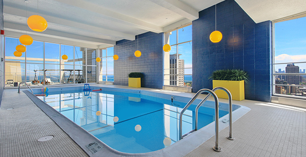 Lakeview apartments with indoor pool on penthouse amenity level in WAVE Chicago Apartments