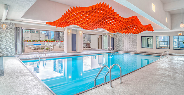 indoor pool at River North apartment building West77