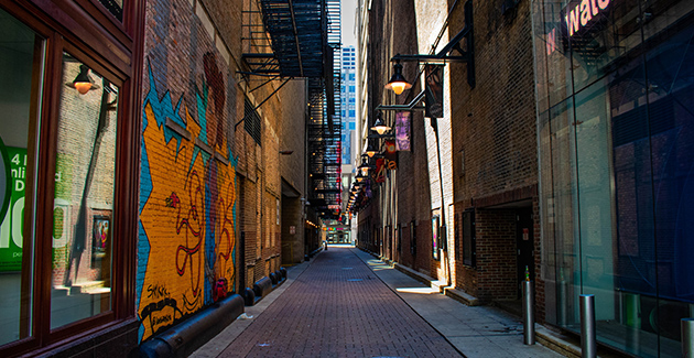 an alley behind theaters in downtown Chicago's Theater District