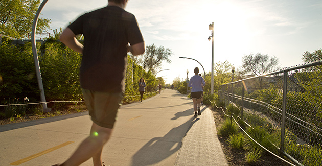 runners on the 606 trail near Humboldt Park, Chicago, IL