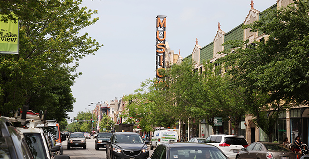southport avenue looking towards the Music Box Theater in Lakeview neighborhood, Chicago, IL