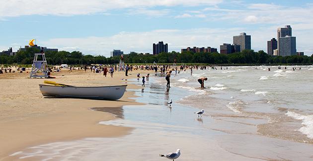 beach scene at Montrose Beach in Uptown neighborhood, Chicago, IL