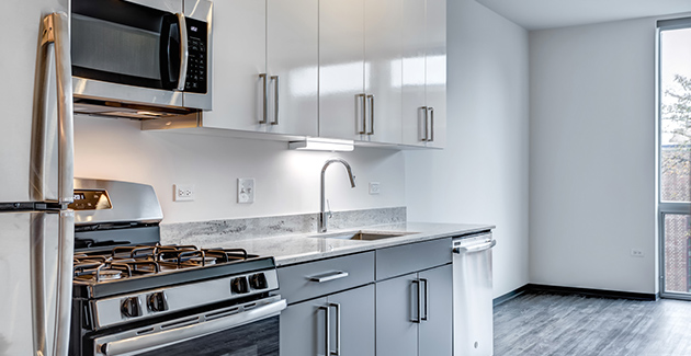 kitchen with stainless steel appliances and grey cabinetry in Logan Square apartment for rent at Noca Blu