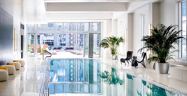 swimming pool in downtown apartment building OneEleven, Chicago, IL