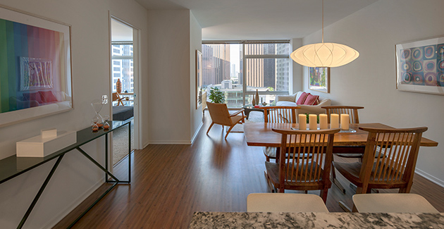 Dining area of 1-bedroom apartment in Optima Chicago Center