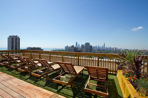 rooftop views from Lincoln Park apartment building The Patricians