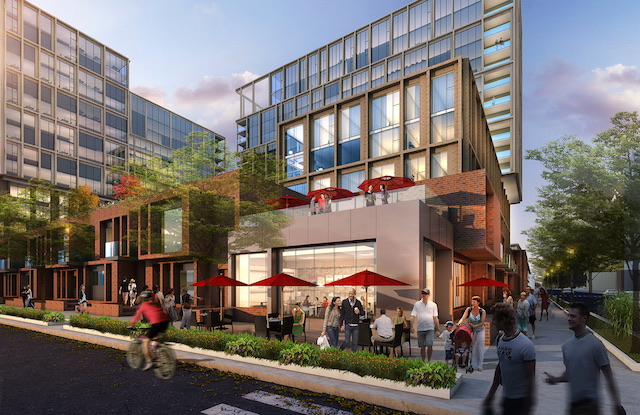 rendering of The Porte Apartments exterior facade with retail stores on the ground floor and apartments above seen from the street in the West Loop Chicago