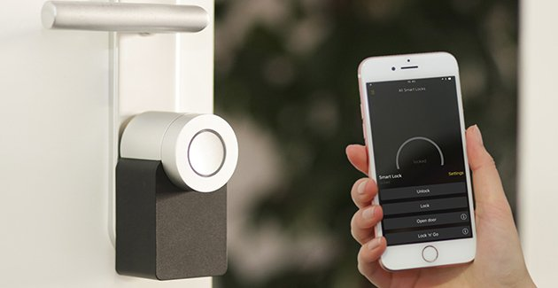 a smart lock with a smartphone app to lock and unlock the door to a Chicago apartment