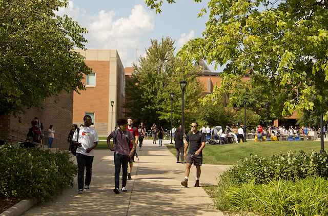 students walking on campus quadrangle in Chicago