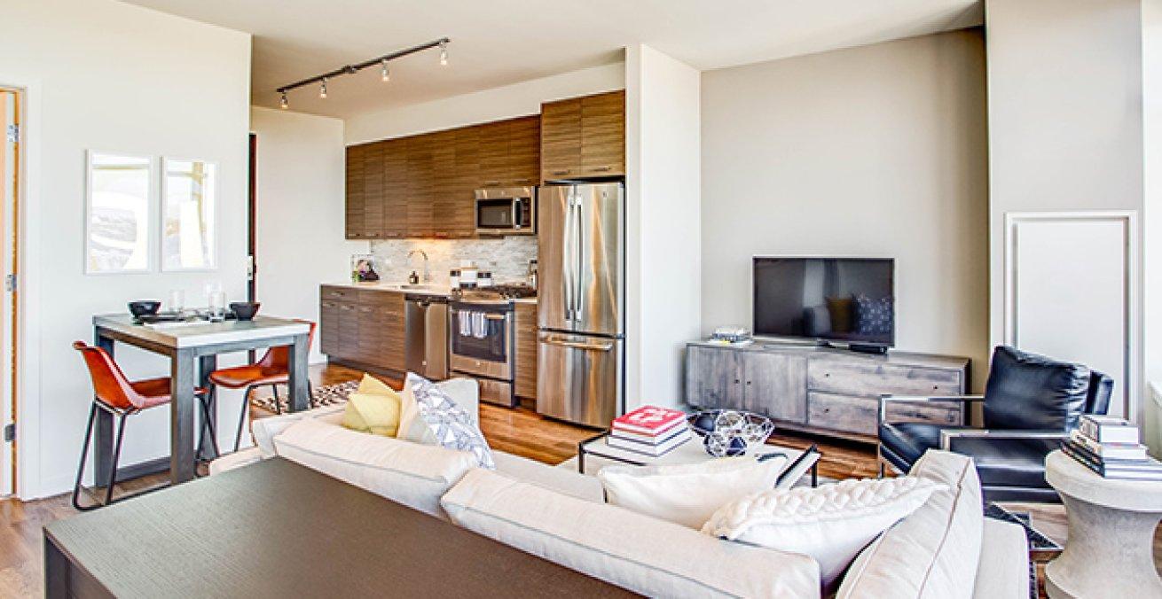 interior of studio apartment in Chicago