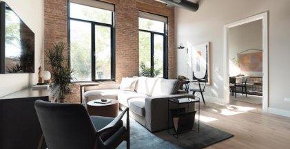 living room of loft apartment for rent in Chicago's West Loop neighborhood