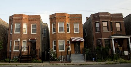 exterior view of brick two flat apartments in Chicago
