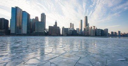 Frozen Lake Michigan viewed from Streeterville neighborhood in Chicago