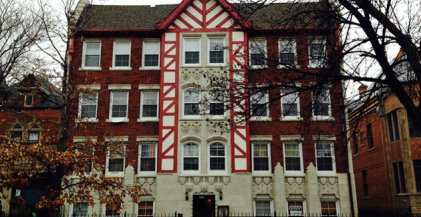 a Tudor style apartment building in Chicago