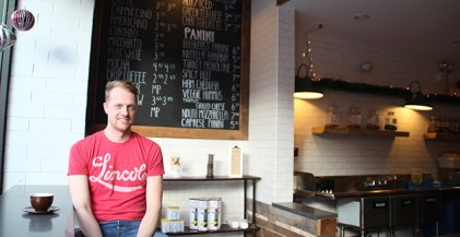 Jason Foster, owner of Groundswell Coffee in Ravenswood neighborhood of Chicago