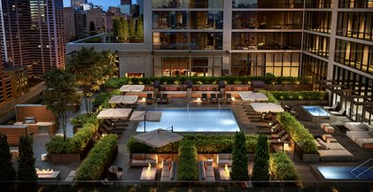 pool deck with lounge areas at NEMA Chicago in the South Loop