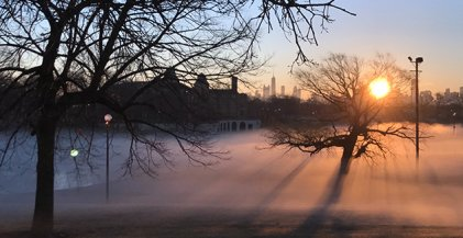 mist over lagoon at Humboldt Park boathouse in Chicago, IL
