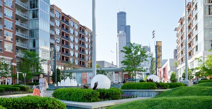 plaza in front of South Loop apartments for rent at Lofts at Roosevelt Collection