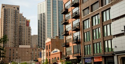 apartment buildings with balconies in the South Loop neighborhood of Chicago, IL