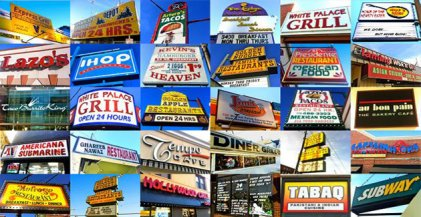 collage image of signs of restaurants open 24 hours in Chicago