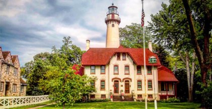 Gross Pointe Lighthouse along Lake Michigan shore in Evanston, IL