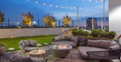roofotp lounge seating around a fire pit at Milieu Apartments in Chicago West Loop neighborhood
