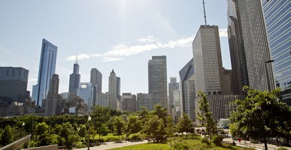 the downtown Chicago skyline seen from Maggie Daley Park in the New East Side neighborhood