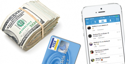 picture of roll of cash, credit card and iphone app as options for rent payment options to pay rent online