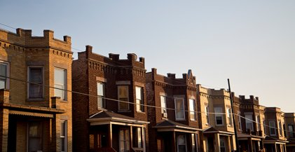 vintage two flat apartment buildings in Avondale, Chicago, IL