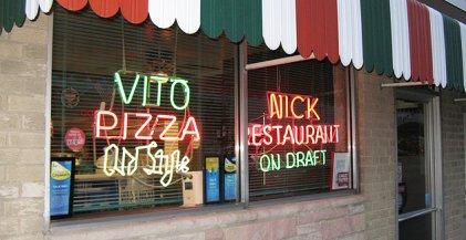 Exterior of Vito Nicks Pizzeria a Famous Chicago Restaurant