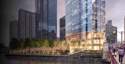 exterior of Wolf Point East luxury apartment building in River North, Chicago